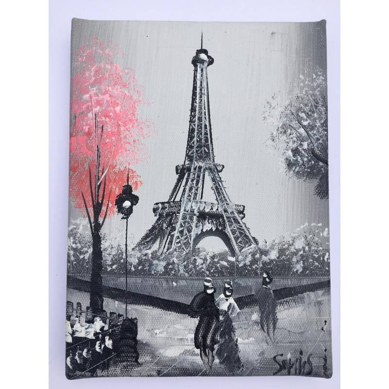Tableau Paris Tour Eiffel Et Autres Monuments De Paris Peint La Main Sur Chassis Bois
